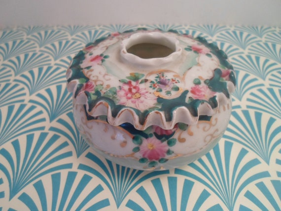Antique Nippon Hand painted Vanity Jar Victorian Hair Receiver Rare Fluted Lid Stunning Colors as found