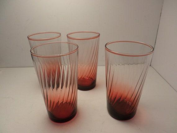 Fabulous pix dont do justice vintage Deco Ombre cranberry swirl glasses
