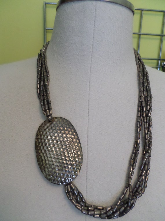 Vintage 80's offset silver overlay metal beads Big jewelry