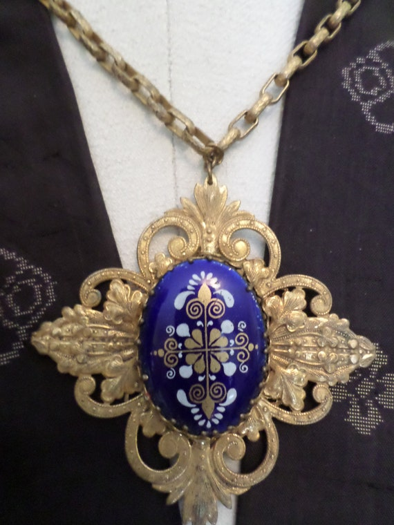 Antique/Vintage Miriam Haskell 40's necklace large pendant brass filegree enameled blue center