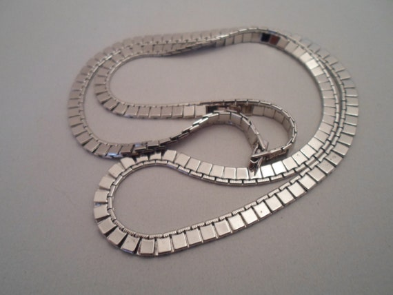 Vintage Monet' Flat Link Silver Necklace 1980's Cool Design High Polish Very Reflective