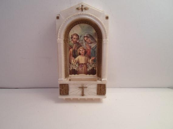 Vintage Art Deco Era Religious Wall Pocket Spiritual Holy Family Child Jesus Mary and Joseph Holy Spirit Cross Seraphin Angels  Catholic