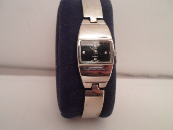 Vintage 1980's Collezio Wristwatch Cutting Edge Design Unisex ID Bracelet Style Excellent running Japan Tech Very cool