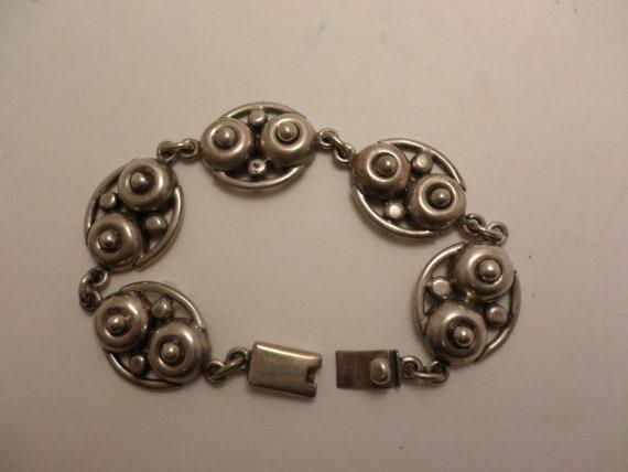 Vintage Mexican sterling silver bracelet 80's circles design