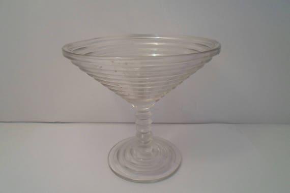 Manhattan Pattern Art Deco Depression 5.25 Bon Bon Candy Dish Champagne Glass Shape