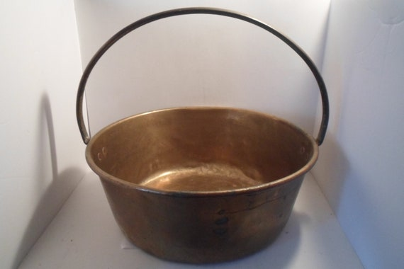 """Antique Original Brass Iron Handle Apple Butter Bucket Kettle 15""""wide 13""""tall Heavy Farmhouse or Cottage Decor Chic Accessory"""