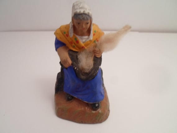 """Vintage Santon Figure Woman Spinning Wool hand painted with real wool bolt signed Japan 3"""""""