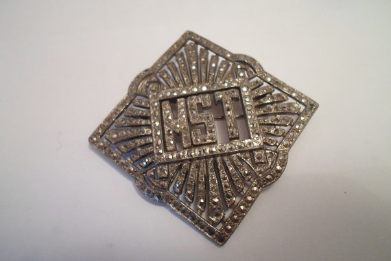 Art Deco 30's MST initials Unusual Marcasite Pin Large 4 Corner Design Good Working Clasp 1930's Chic Style