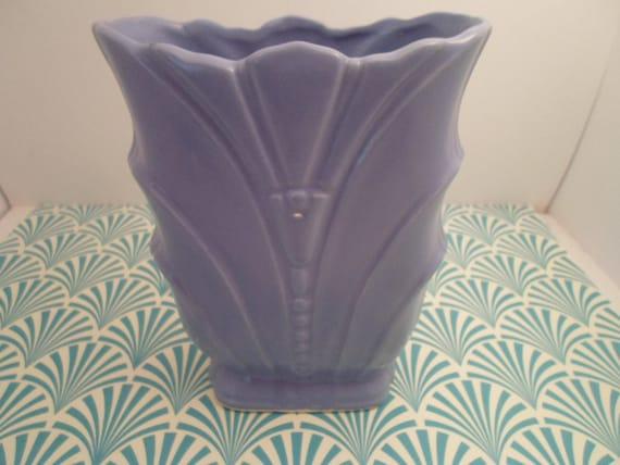 Art Deco Original USA Pottery Periwinkle Blue Vase Superb size and Color