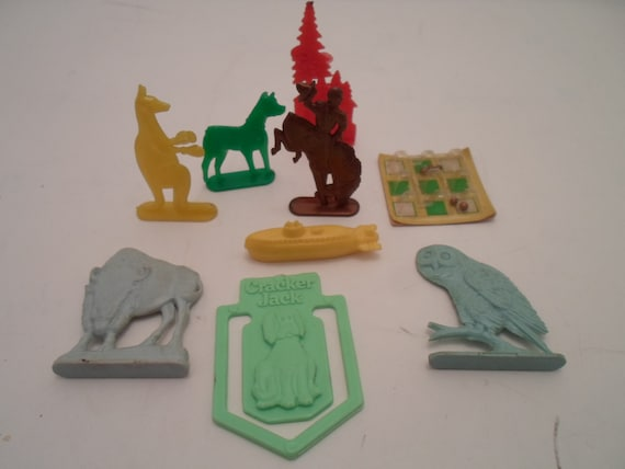 Vintage Lot of 9 Cracker Jack Prizes 1960' Animals Cowboy Game Bookmark Fun Items Re Purpose Collect