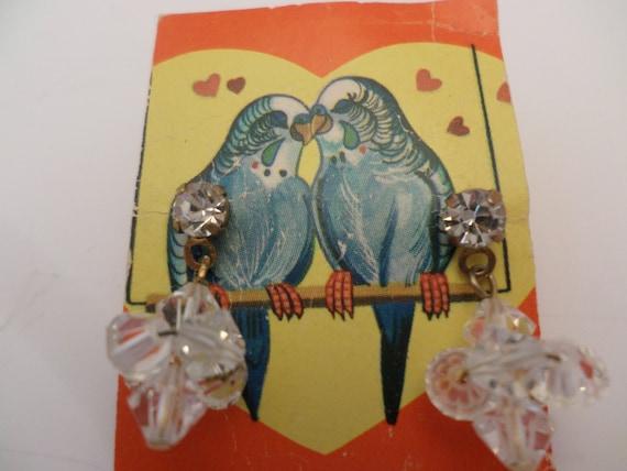 vintage 60's crystal cluster dangle earrings on rhinestone post gold tone metal