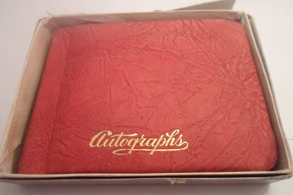 Antique Leather Autograph Book Dated 1938 School Day Memories in Original Box Written Notes Poems Information O A Thorp School