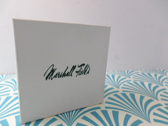 Vintage white with embossed green Marshall Field's logo jewelry gift box