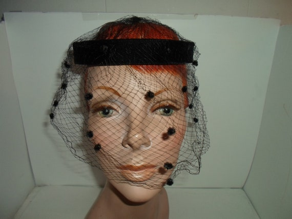 Mid Century Net Black Velvet Circle Hat Head Covering Whimsical Velvet Design on Netting