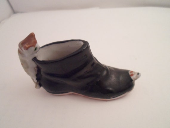 "Antique Mini Bisque Black Boot Shoe with Cat and Mouse Adorable Puss n Boots Japan Mini Kitty Mouse 3""long 2"" high"