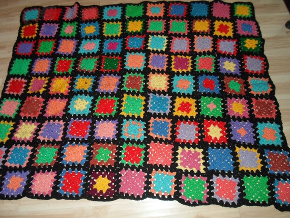 Antique Vintage Wool Blend Granny Square Cover Large Throw Farm House City Chic Decor