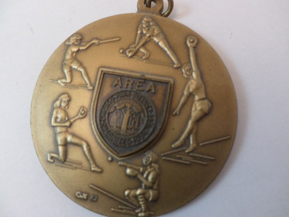 "2"" brass vintage 80's Chicago Parks area sports medal junior 1987 Charm"