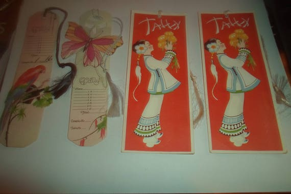 4 Art Deco Tally Cards for Bridge Two Beautiful Chinese Girls in Costume Two Parrot Butterfly Use Repurpose for Book Markers Gretting Card