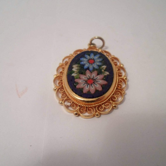 Vintage Italian Mosaic Pendant Delicate Filigree Micro Mosaic