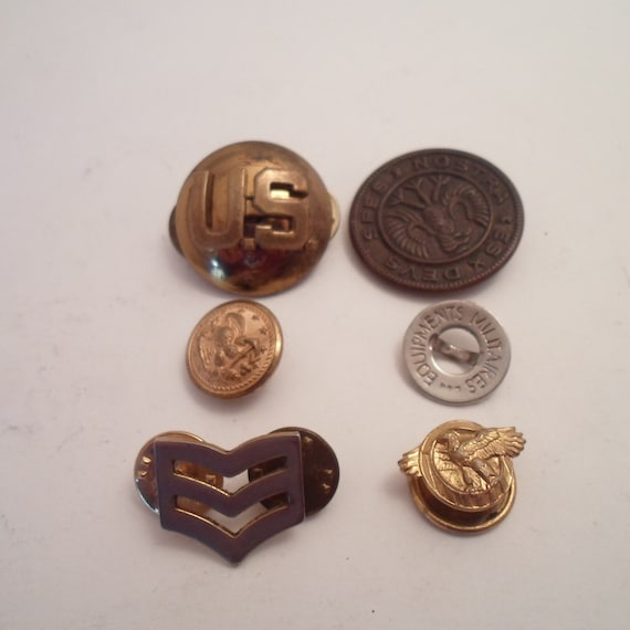 6 Antique Military Related Buttons Pin Backs USA Eagles Stripes Brass Cute Lot