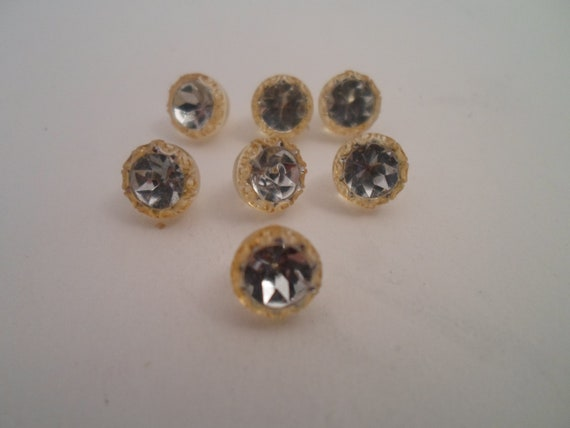 Antique Tiny Concave Mercury Buttons Set of 7 Art Deco Blouse Delicate Rare Detailed