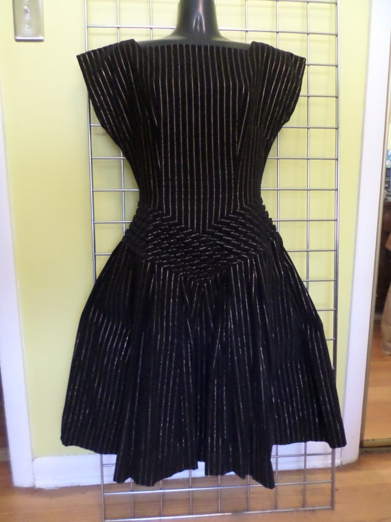 Vintage Corduroy dress black gold pin striped 50's Made in the USA