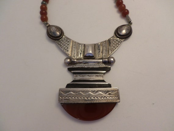 Vintage Boho Carnelian and silver plate fabulous ethnic necklace Poland