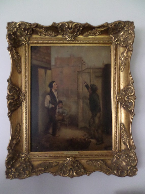 Antique Oil on board painting John Charlton R.A. Gamblers in lowlife framed