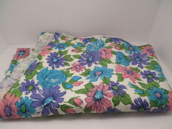 "Vintage 60's cotton pique' fabric pink purple blue green flowers 53"" by 39"" upholstry, dress, pillow crafting brady bunch chic"