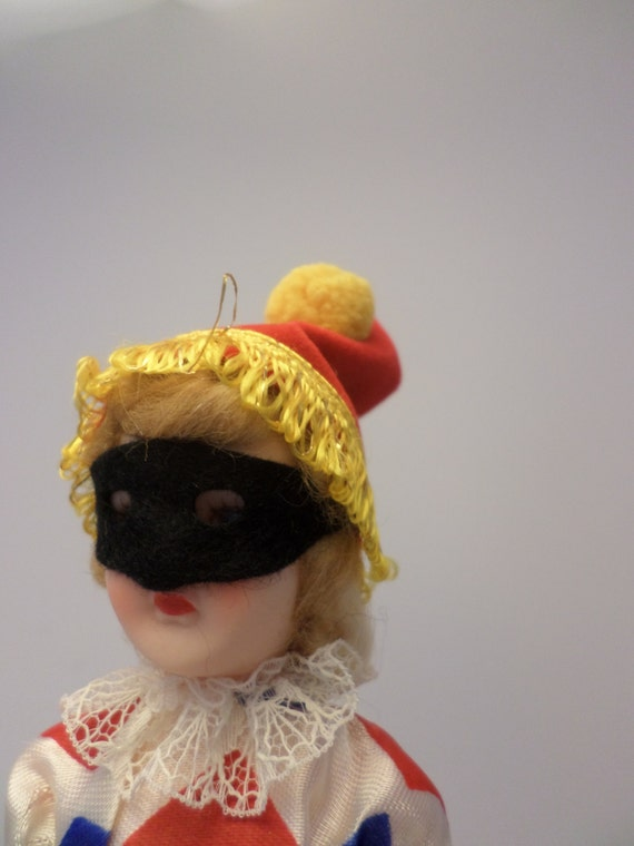 """Vintage storybook doll Masquerade ball Harlequin dress jester hat super cute on stand 8"""""""