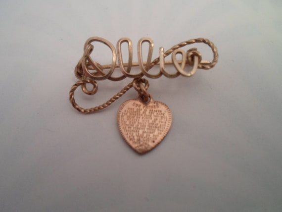 Vintage Name Pin Script Ollie dangling Mini heart with Our Father Prayer Adorable Art Deco Era
