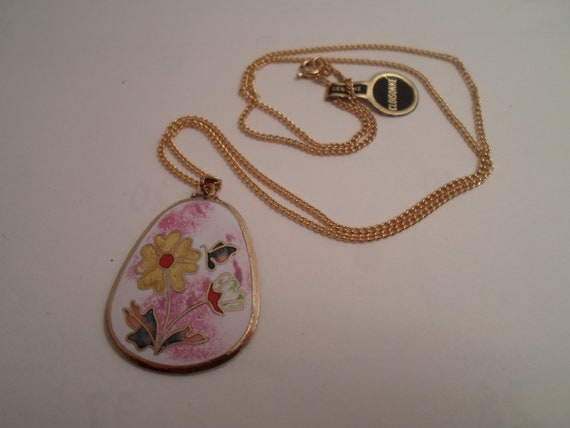 Vintage Genuine hand painted Cloisonne Pendant and Chain Original Tag 1980's Enameled  Butterflies Flowers