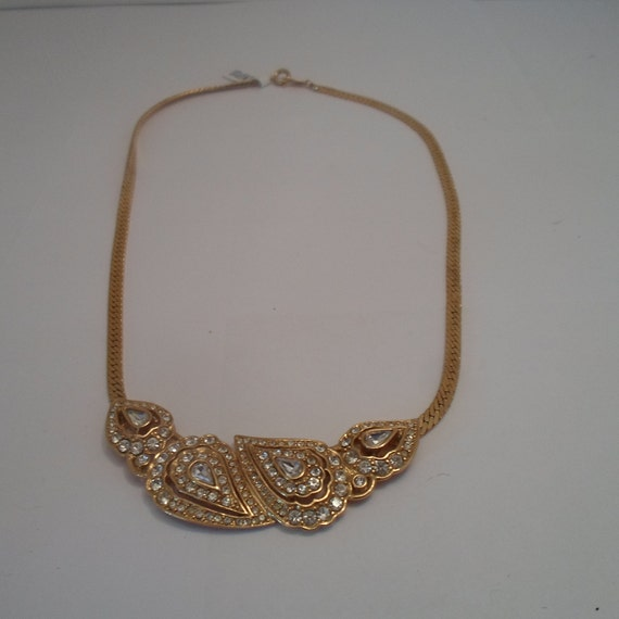 Vintage Stunning Qvc Trifari tm Rhinestone and Gold tone Necklace Superior Quality Original Design Beyond Chic