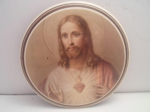 Vintage Art Deco Sacred Heart of Jesus Round Celluloid Plaque Hang or Table Top Goth Flaming Heart Beautiful Spiritual Sepia Tone