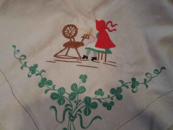 Vintage 1940's Crewel Embroidered Table Cloth Red Riding Hood Spinning Wheel Shamrocks Cottage Chic
