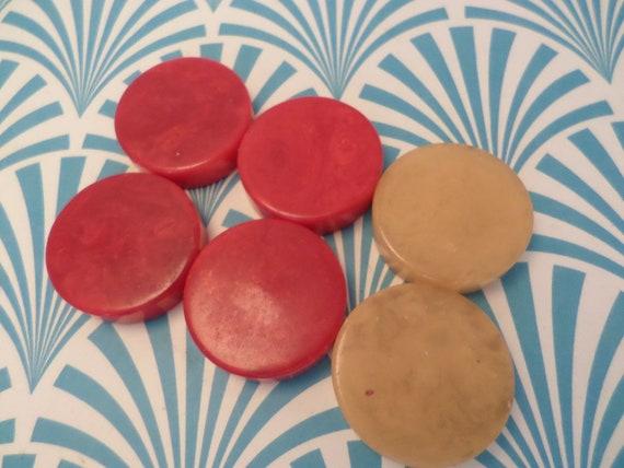 6 pc vintage Art Deco bakelite checkers/chess discs cherry red butterscotch