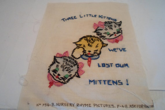 Vintage Antique Original Quilt Square Detailed Embroidered Three Little Kittens Quilt or Frame Cottage Chic Nursery Rhyme