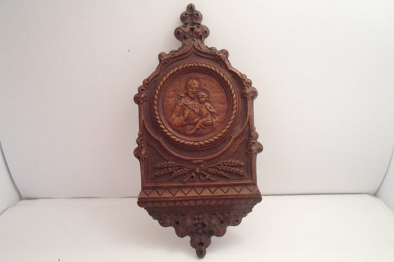 Vintage Syroco Wood Plaque Saint Joseph and Child Jesus Decorative Lily Thrush of Wheat Beautiful Carpenter Dad Father of Jesus Christian