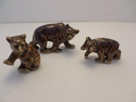 Vintage Set of 3 Germany bears Momma & Cubs brown bear porcelain figures