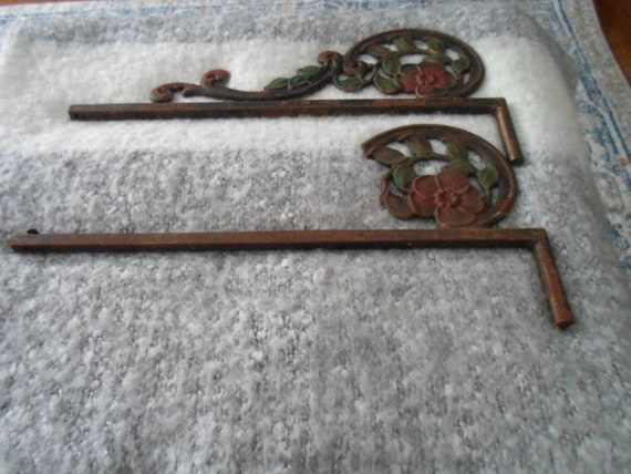 Antique Art Deco Pair Polychrome paint Wrought Iron Swivel Arm Curtain Rods 1 as found Cottage Farm house City Decorator Choice hardware
