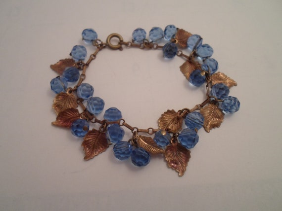 Antique Art Deco Era Bracelet Blue Faceted Crystal Beads with Gold Foil Leaves Stunning Color Chic Deco Style