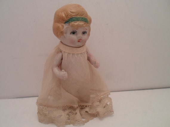 Antique Bisque Doll Hand Painted Face and Hair Hand Crochet Edge on Dress Flapper Style Embossed on Back Made in Japan