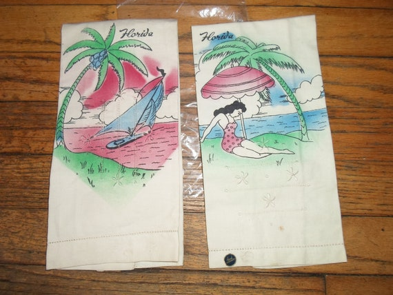Vintage Art Deco Florida Hand Painted Embroidered Souvenir Towels Never Used Tiki Cute Cottage Ready City Kitch