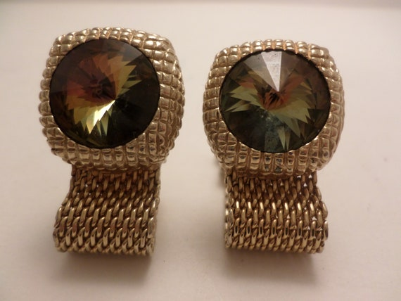 Vintage 70's cufflinks foldover mesh gold aurora borealis crystal fabulous!
