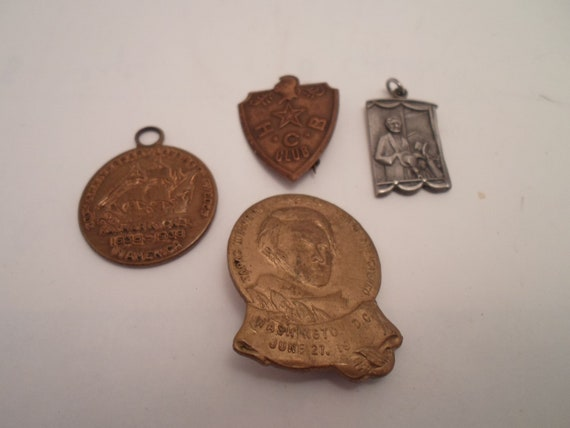 Vintage Group of Sterling Brass Copper Pins and Medals 1938 thru 1964 Collect or Re Purpose Sterling Land of Lincoln