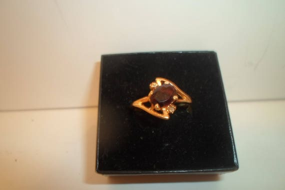 Vintage Mid Century Garnet Ring with 2 small faux diamonds Asymmetrical Setting