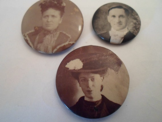 Antique Victorian 3 Picture Pins Collect or Re Purpose Dapper Gentleman Lady with White Rose Hat Lady in Flower Bonnett