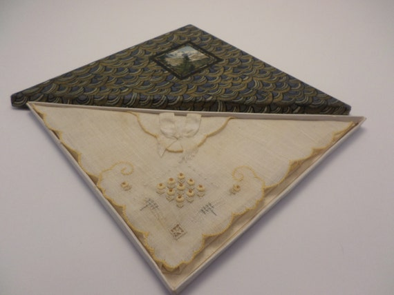 Vintage Switzerland new old stock handkerchief in original box lovely 30's