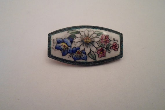 Vintage Enamel on Porcelain Mini Bar Pin Flowers Leaves Dasy Rose Morning Glory Adorable Secret Garden Pin