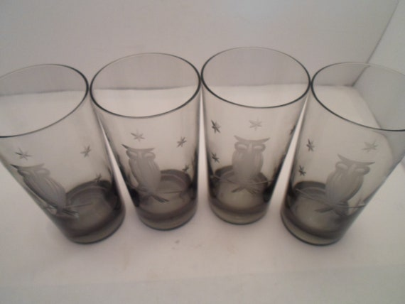Vintage Mid Century Modern MCM  Smoke Grey Glass Tumblers Cut Glass Owl on Branch and Stars Super Cute